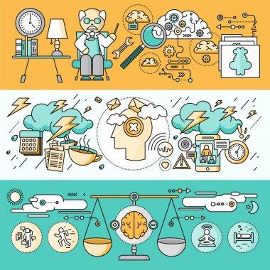 Diagnosis of Brain Psychology Flat Design