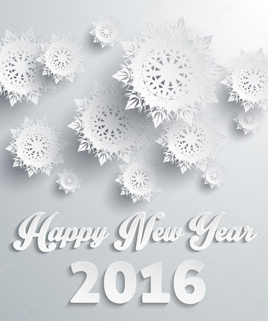 Happy New Year 2016 Snowflakes Background