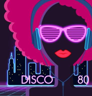 Disco 80s. Girl with Headphones