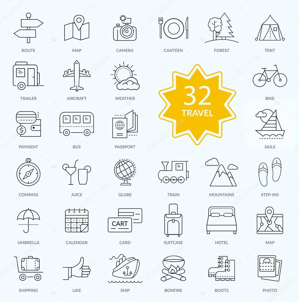 Set of Travel Icon Linear Design