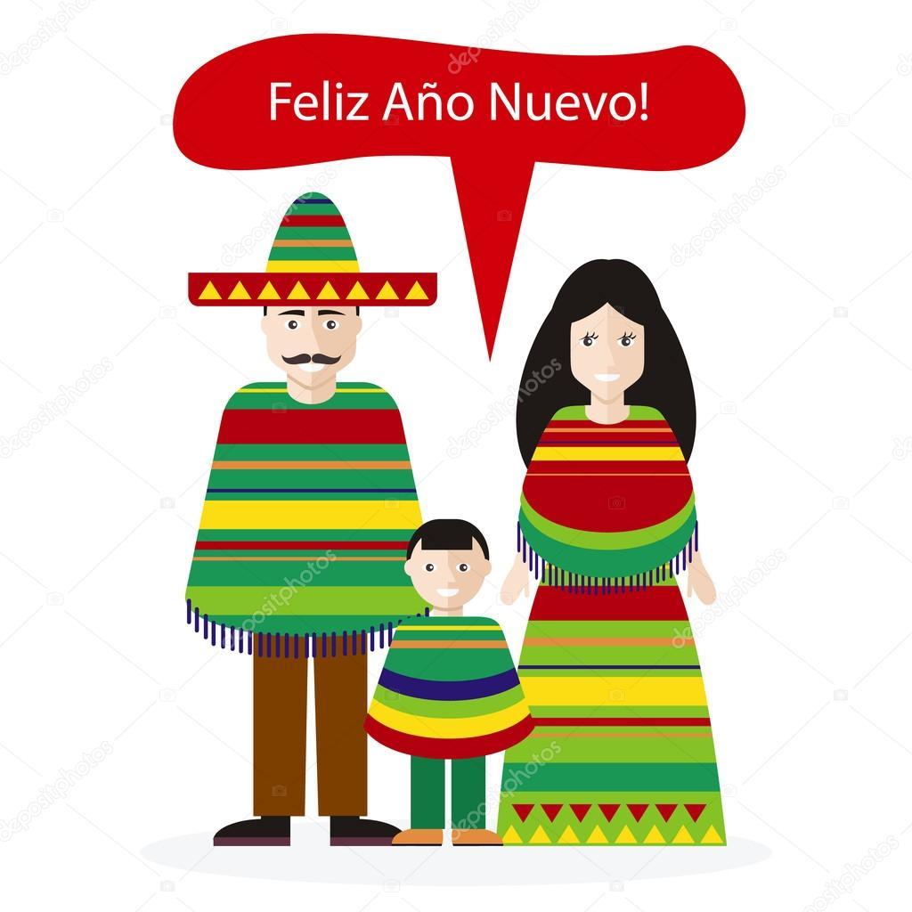 Mexikaner Menschen Gratulation frohes neues Jahr — Stockvektor ...
