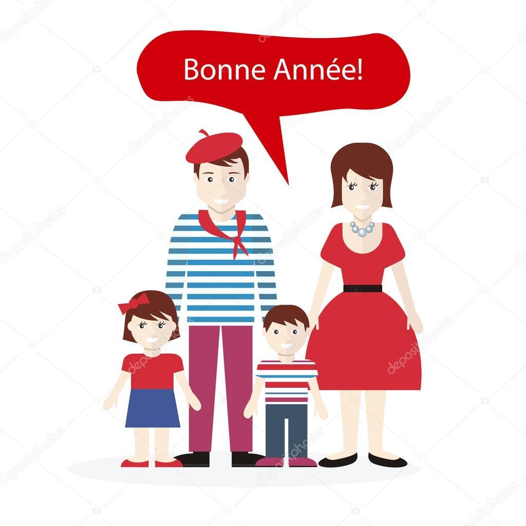 Französisch Menschen Gratulation frohes neues Jahr — Stockvektor ...