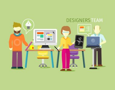 Designers Team People Group Flat Style