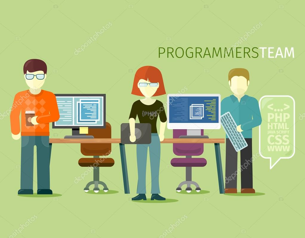 Programmers Team People Group Flat Style