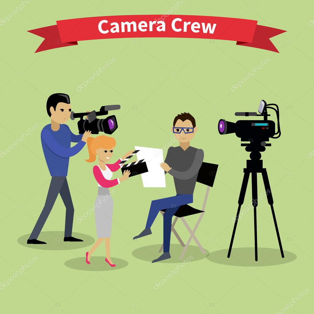 Camera Crew Team People Group Flat Style