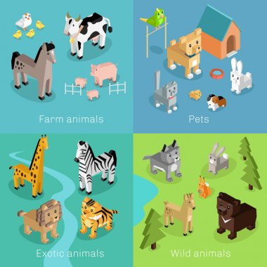 Wild exotic and farm animal set isometric. Pet dog bird, animals vector, cartoon animals, cat and lion, horse and tropical wildlife, mammal creature illustration. Isometric animal set stock vector