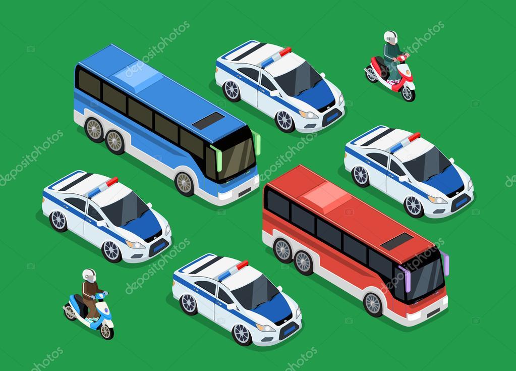 Polizei Motorcade Auto Wohnung Entwurf — Stockvektor © robuart #99771394
