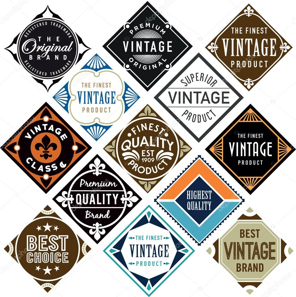 Conjunto o diamante en forma de etiquetas vintage — Archivo Imágenes ...