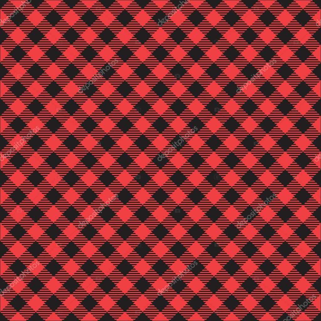 Seamless Red And Black Checkered Plaid Fabric Pattern Texture