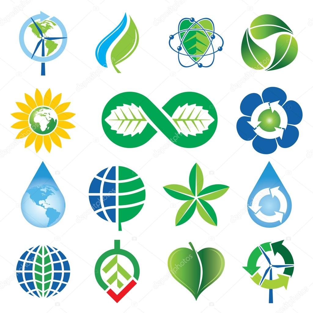 Set of Green Environmental Concept Icons