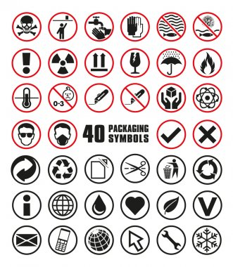 Collection of Round Packaging Symbols in Vector Format