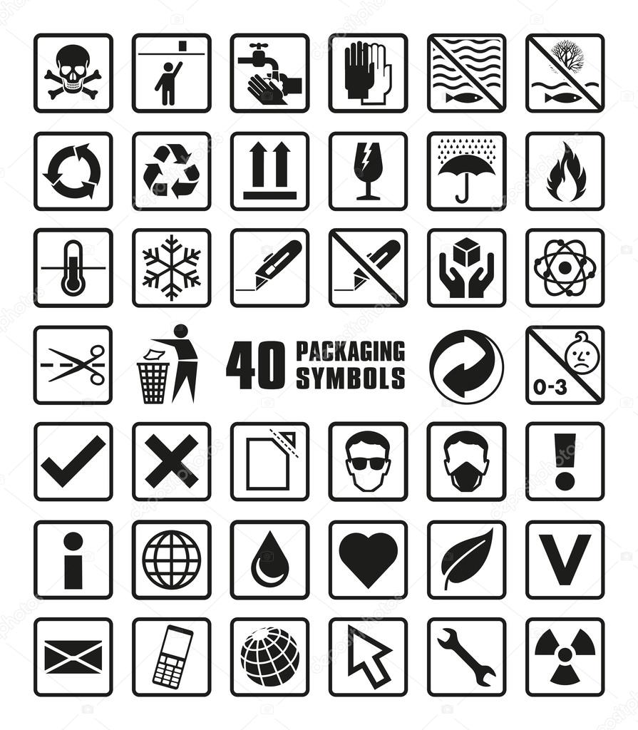 Collection of Packaging Symbols in Vector Format icon