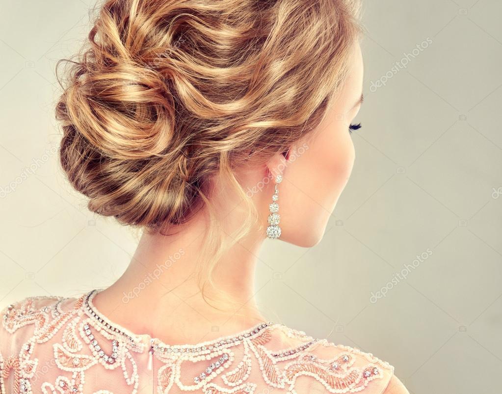 blonde woman with stylish hairdo