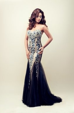 Lady in silver evening dress
