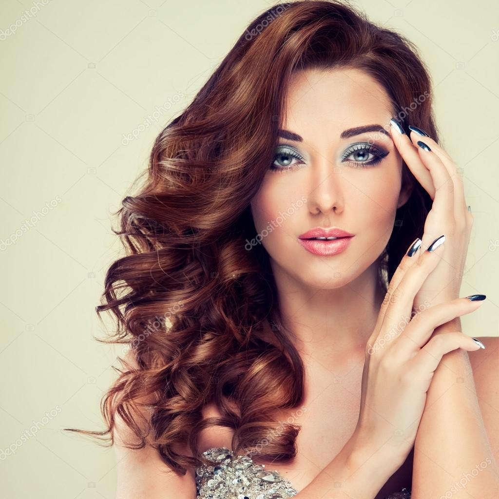 Beautiful model with long curly hair — Stock Photo © EdwardDerule ...