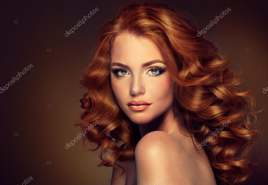 Woman with curled hair