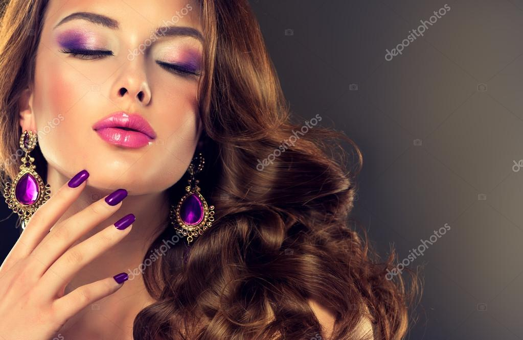 Beautiful woman with long hair and glamour make up stock vector