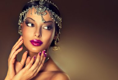 Beautiful Indian woman  with jewelry .
