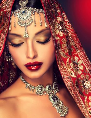Indian woman portrait with jewelry