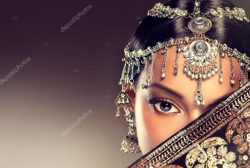 Indian woman portrait with jewelry .