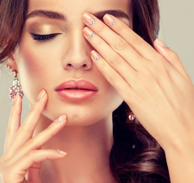 woman and stylish make up  and manicure nails