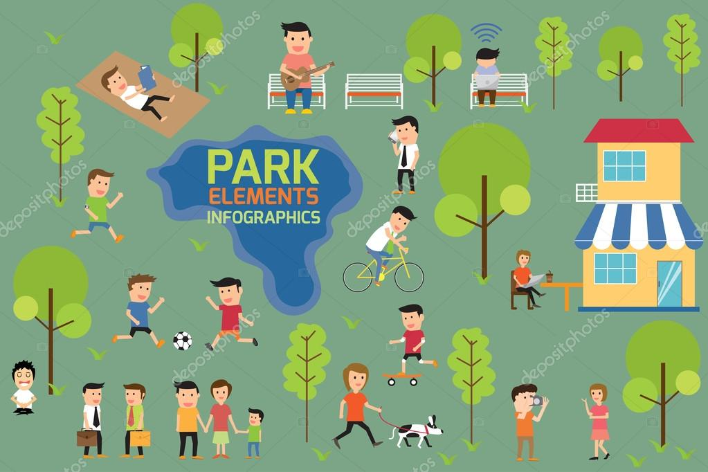 Park infographics elements, people having activities in the park.