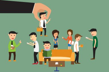 Business hand picking up selected man from group of business peo