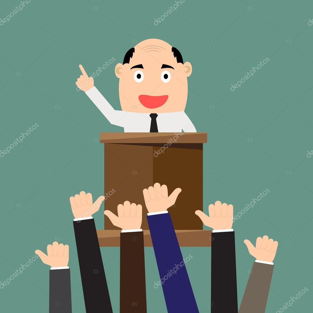 Empresario de dibujos animados dando presentación a podium ...