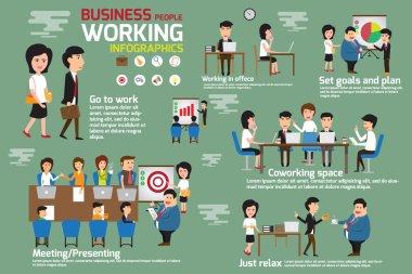 İş insanlar çalışma infographics öğeleri. Hikaye iş ma