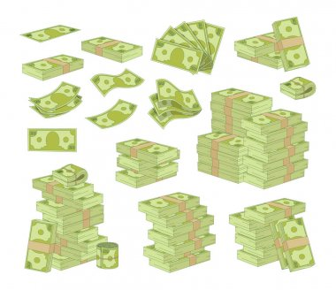Set of Money Isolated on White Background. Packing and Piles of Dollar Banknotes, Green Paper Bills Stacks and Fans. Currency Objects, Lottery Win, Savings, Success. Cartoon Vector Illustration, Icons icon