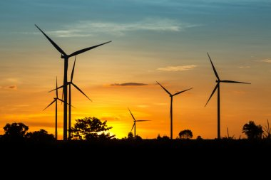 Wind Turbine Farm at Twilight