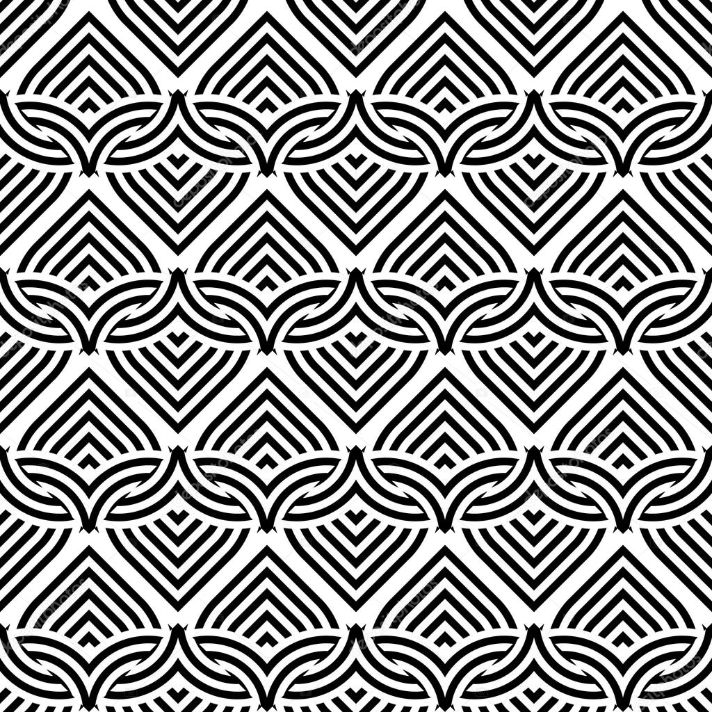 Design Seamless Monochrome Interlaced Pattern Stock