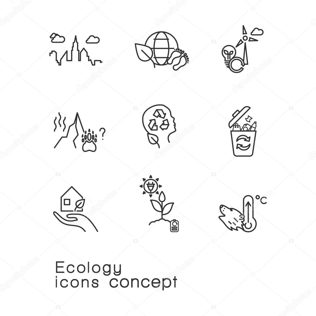 line icons set of renewable energy