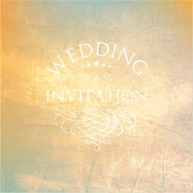 Wedding card or invitation in retro style
