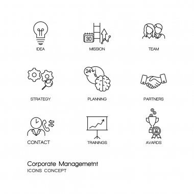 Modern thin line icons set of corporate management and business