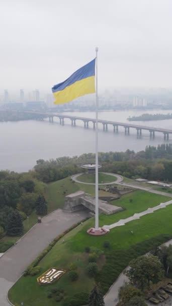 Nationalflagge der Ukraine bei Tag. Vertikales Video
