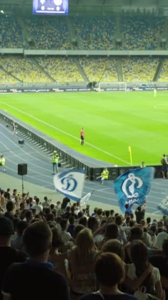 Rajongók a stadionban a meccs alatt. Függőleges videó