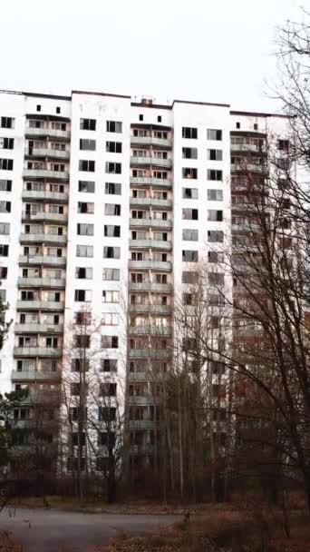 Černobylská vyloučená zóna. Pripyat. Svislé video