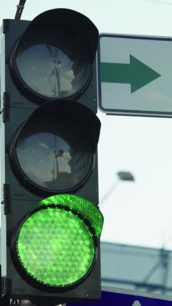 Traffic light on the road during the day Vertical video