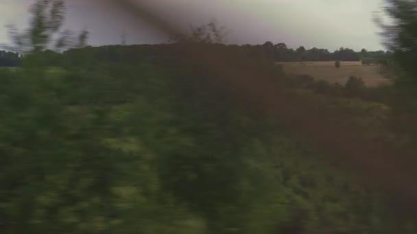 Transport, Reise, Straße, Eisenbahn, Landschaft, Vernetzungskonzept - Blick aus dem Fenster des Schnellzuges auf Landschaft mit gelben Weizenfeldern, Strommasten und Wald bei trübem Wetter Sommerabend