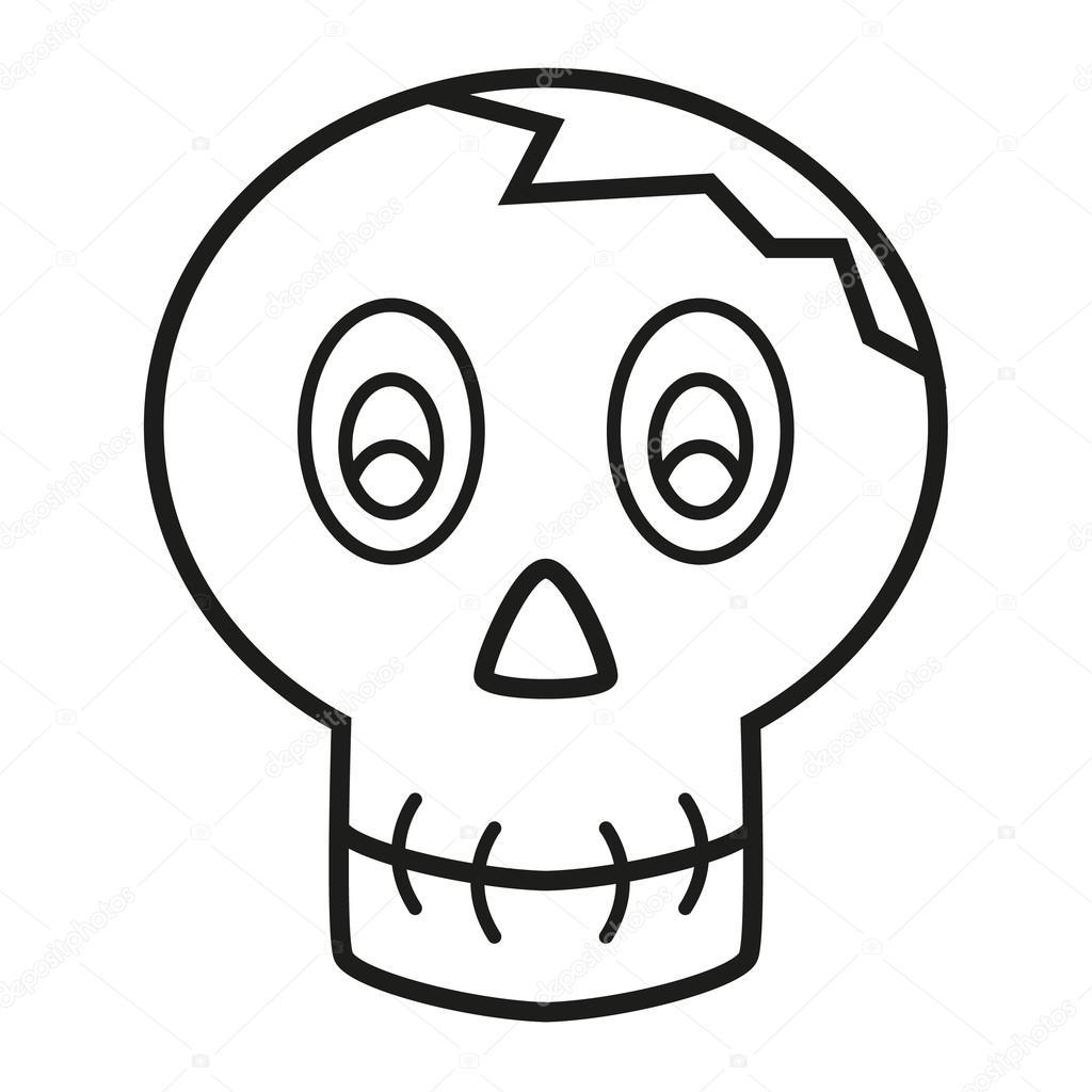 boek schedel met gebarsten hoofd kleurplaten