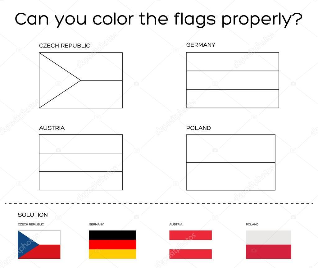 Kleurplaten Europese Vlaggen.De Taak Van Het Boek Van De Kleuring Europese Vlaggen Met