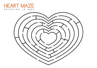 Heart maze with solution