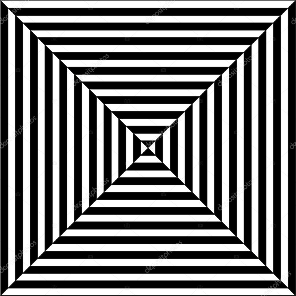 Draw Plan Op Art Illustration Of Black And White Squares Stock