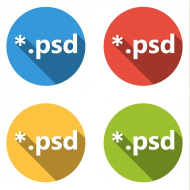 Set of 4 isolated flat colorful buttons (icons) for psd extension stock vector