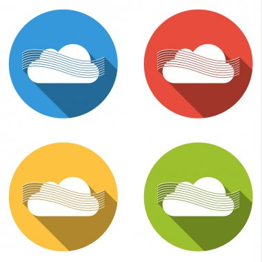 Set of 4 isolated flat colorful buttons (icons) for wind or fog (part of weather icon set) clip art vector