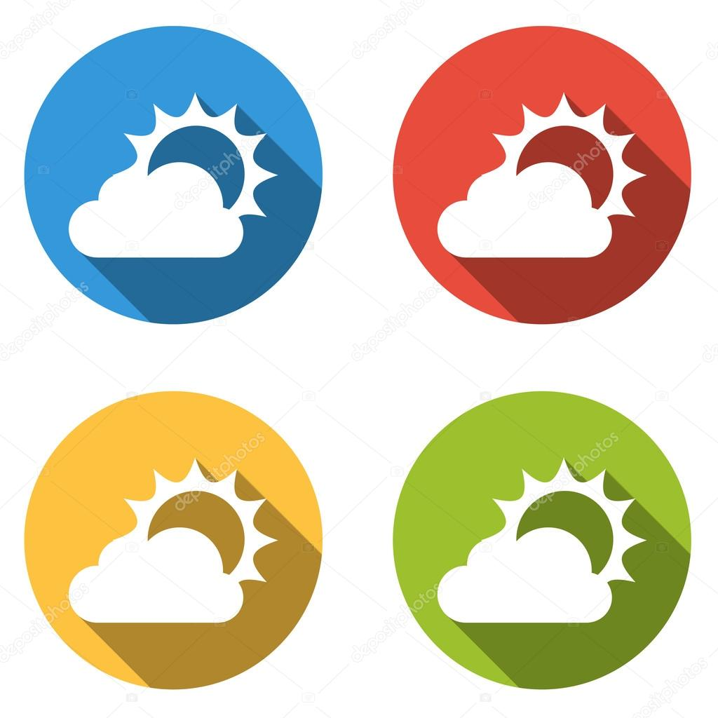 Collection of 4 isolated flat buttons for partly cloudy