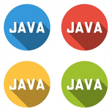 Collection of 4 isolated flat buttons for JAVA (computer program