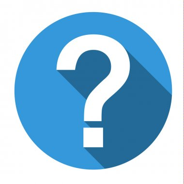 Isolated blue icon with white question mark (help, faq, support,