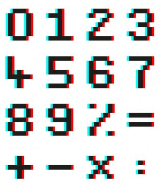 Pixel numbers and mathematical signs with Anaglyph 3d effect
